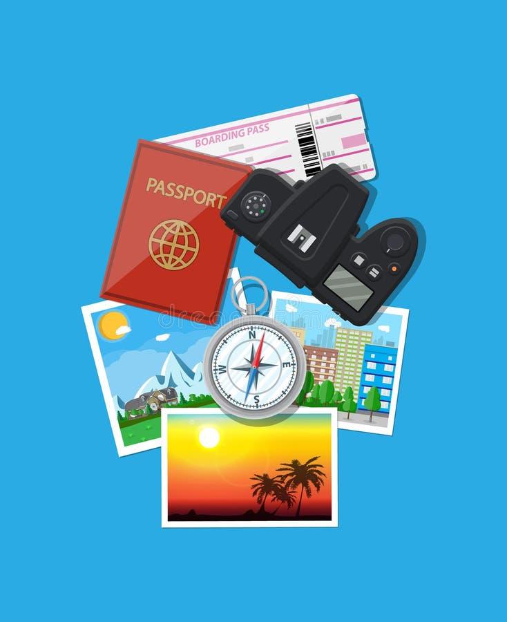 Macchina fotografica della foto e foto, concetto di viaggio illustrazione vettoriale