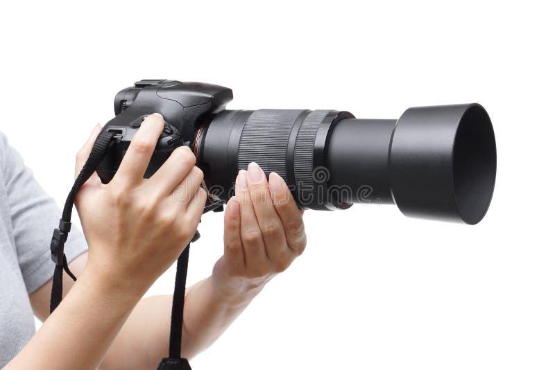 Macchina fotografica di Digitahi con l'obiettivo di zoom fotografie stock