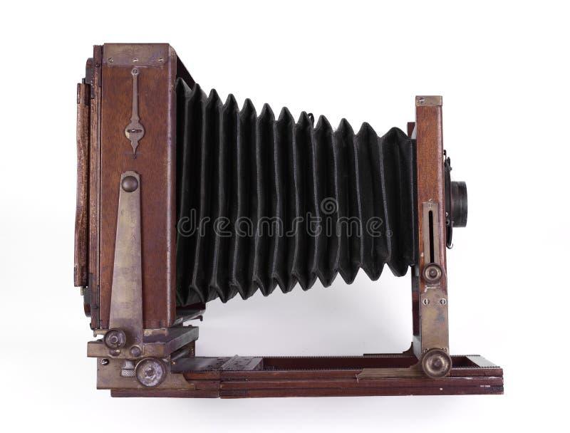 Macchina fotografica di legno antica fotografia stock