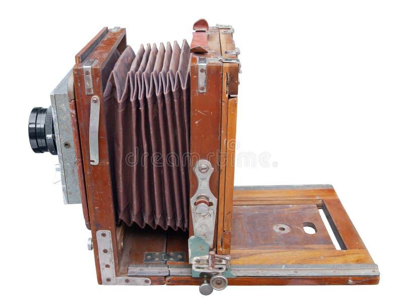 Macchina fotografica di legno antica della foto fotografia stock