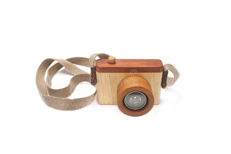 Macchina fotografica di legno del giocattolo fotografia stock
