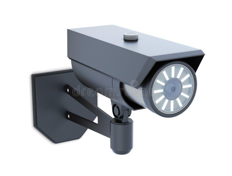 Macchina fotografica di videosorveglianza nera isolata rappresentazione 3d illustrazione di stock