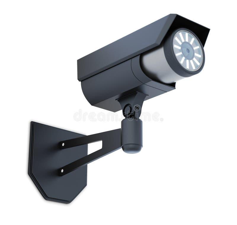 Macchina fotografica di videosorveglianza nera isolata rappresentazione 3d illustrazione vettoriale