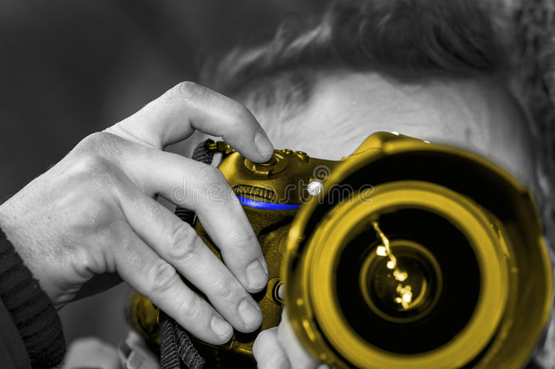 Macchina fotografica dorata 002 immagine stock