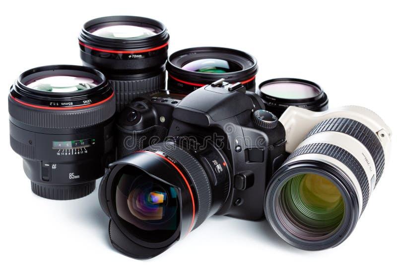 Macchina fotografica ed obiettivi fotografia stock libera da diritti