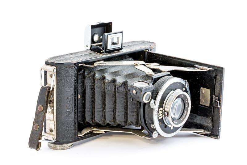 Macchina fotografica isolata il vecchio nero fotografie stock