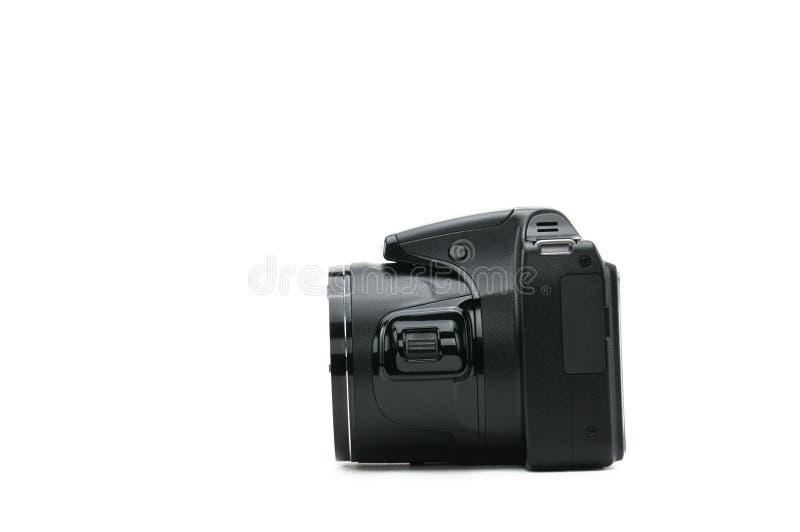 Macchina fotografica isolata su priorità bassa bianca fotografia stock libera da diritti