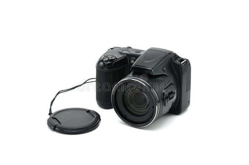 Macchina fotografica isolata su priorità bassa bianca immagini stock libere da diritti