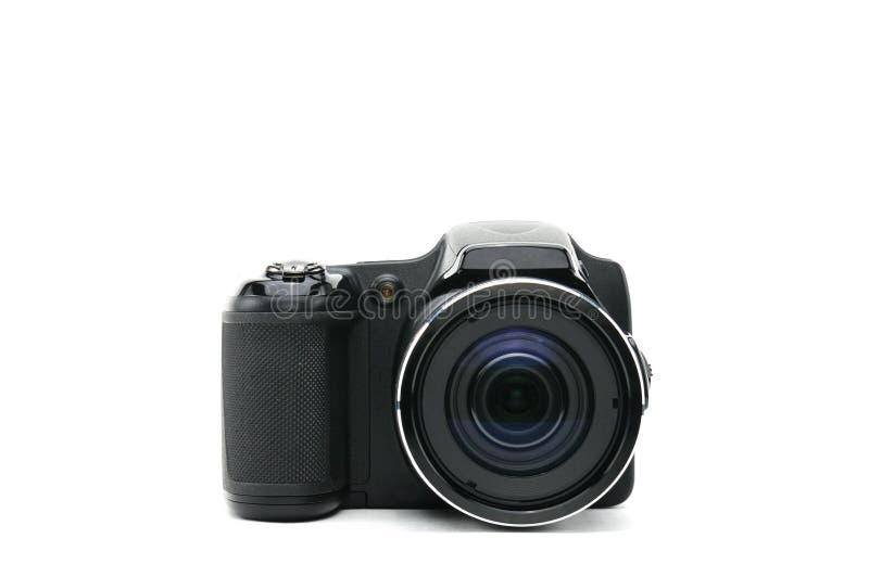 Macchina fotografica isolata su priorità bassa bianca fotografia stock