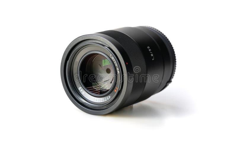 Macchina fotografica Len On White Background immagine stock