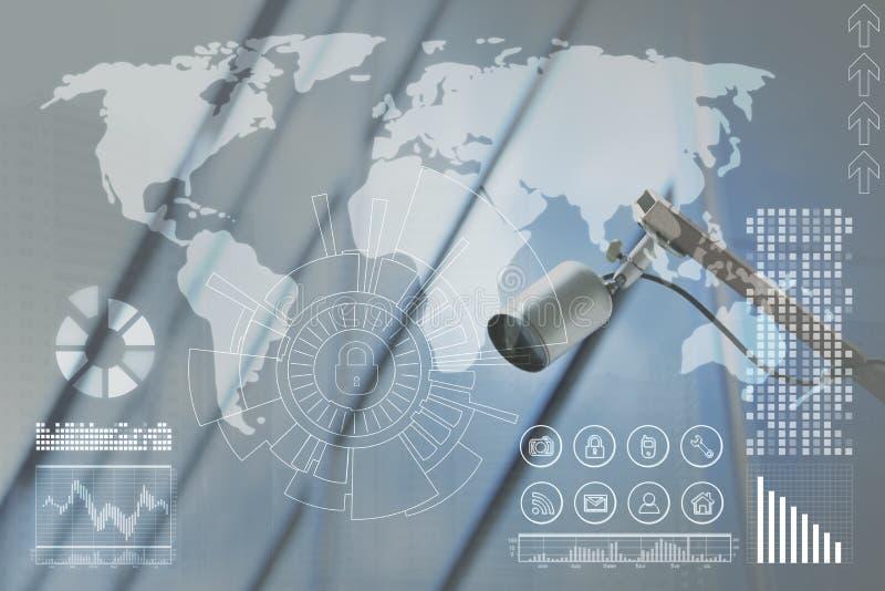 Macchina fotografica moderna del CCTV di sicurezza ed icone virtuali fotografia stock libera da diritti