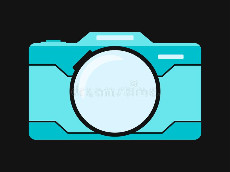 Macchina fotografica piana blu isolata su fondo nero Illustrati di vettore illustrazione di stock