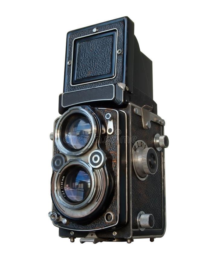 Macchina fotografica reflex del vecchio obiettivo gemellare nero fotografia stock