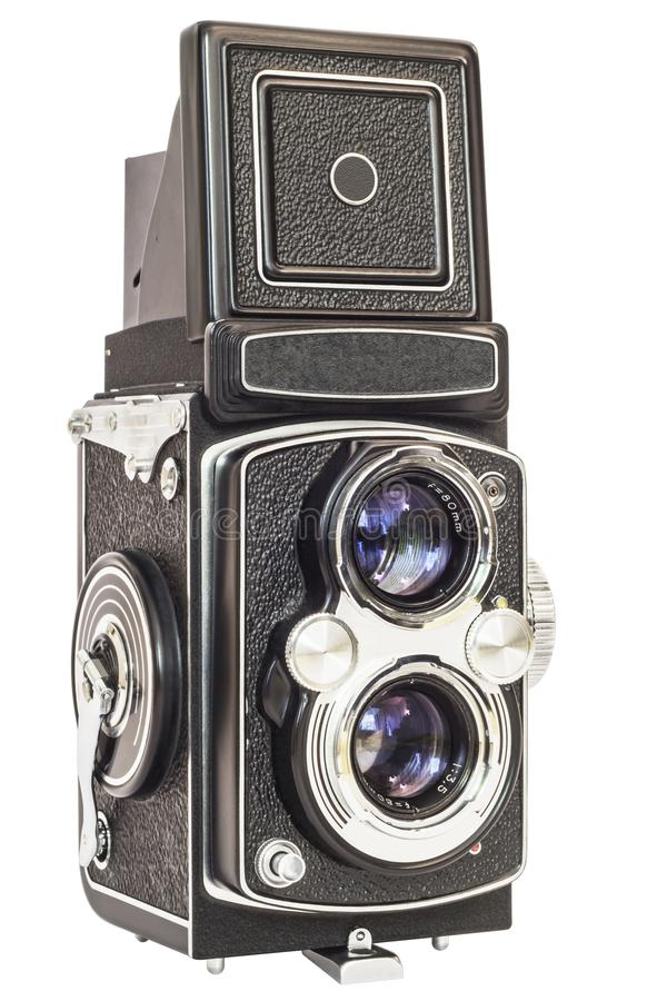 Macchina fotografica reflex della vecchia di analogo lente del gemello isolata su fondo bianco immagine stock
