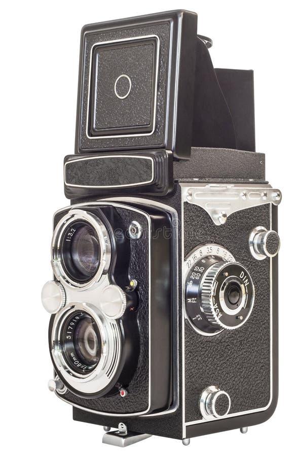 Macchina fotografica reflex della vecchia lente gemellata isolata su fondo bianco fotografie stock