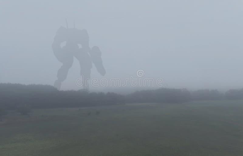 Macchina gigante militare di battaglia di fantascienza Robot di umanoide nella campagna di apocalisse Distopia, la fantascienza,  illustrazione di stock
