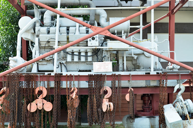 Macchina in Kinta Tin Mining Museum in Kampar, Malesia immagini stock