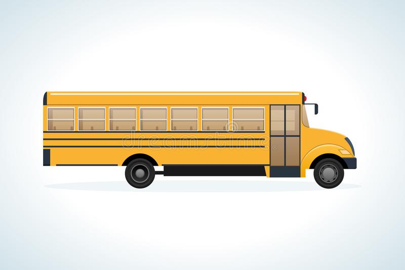 Macchina moderna di trasporto, vista laterale Bambini sullo scuolabus illustrazione di stock