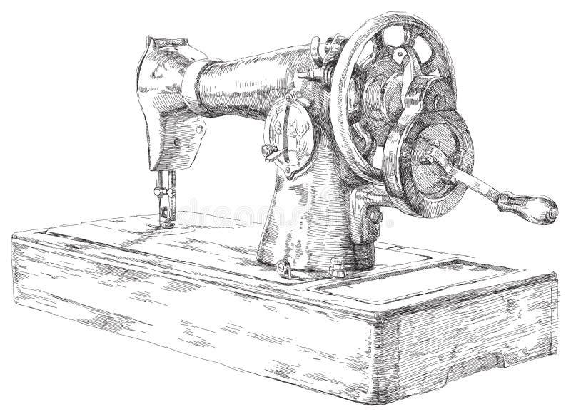 Macchina per cucire disegnata a mano illustrazione di stock