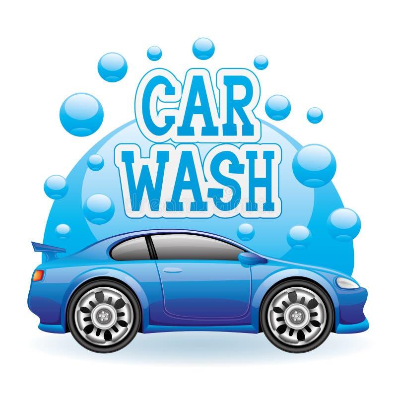 Macchina pulita di Washington dell'automobile, lavaggio di automobile con la spugna e tubo flessibile illustrazione di stock
