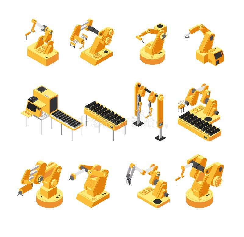 Macchinario del robot di industria, insieme isometrico di vettore del braccio meccanico illustrazione di stock