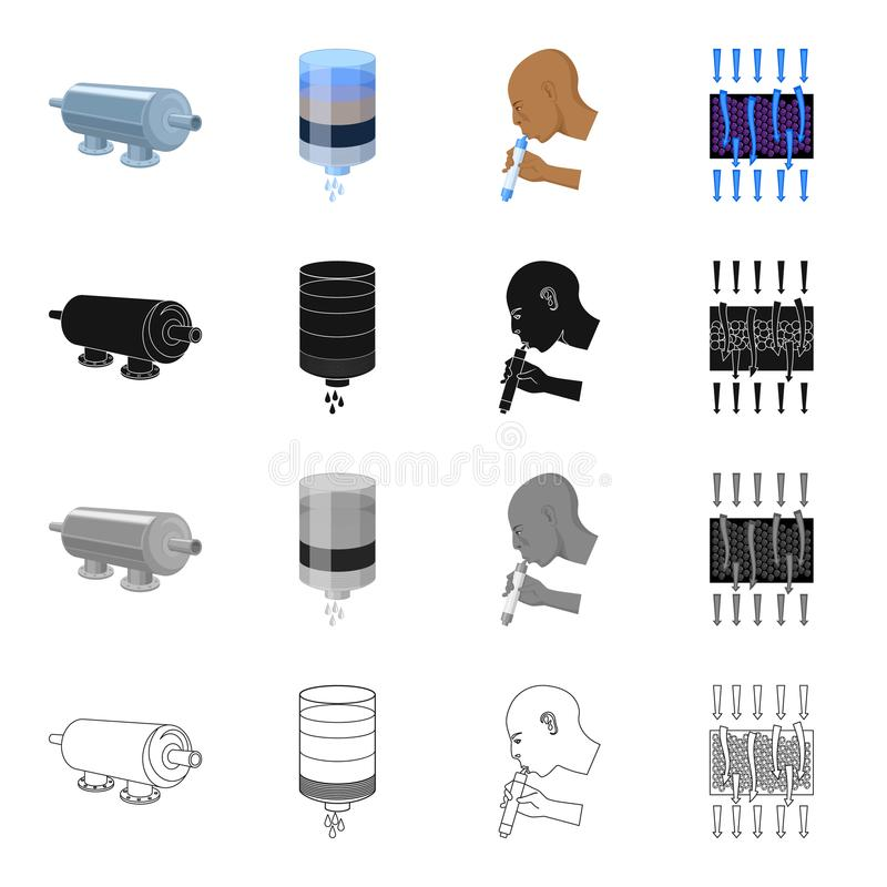 Macchinario, filtro, sistema e l'altra icona di web nello stile del fumetto Barriera, attrezzatura, strumenti, icone nella raccol illustrazione vettoriale