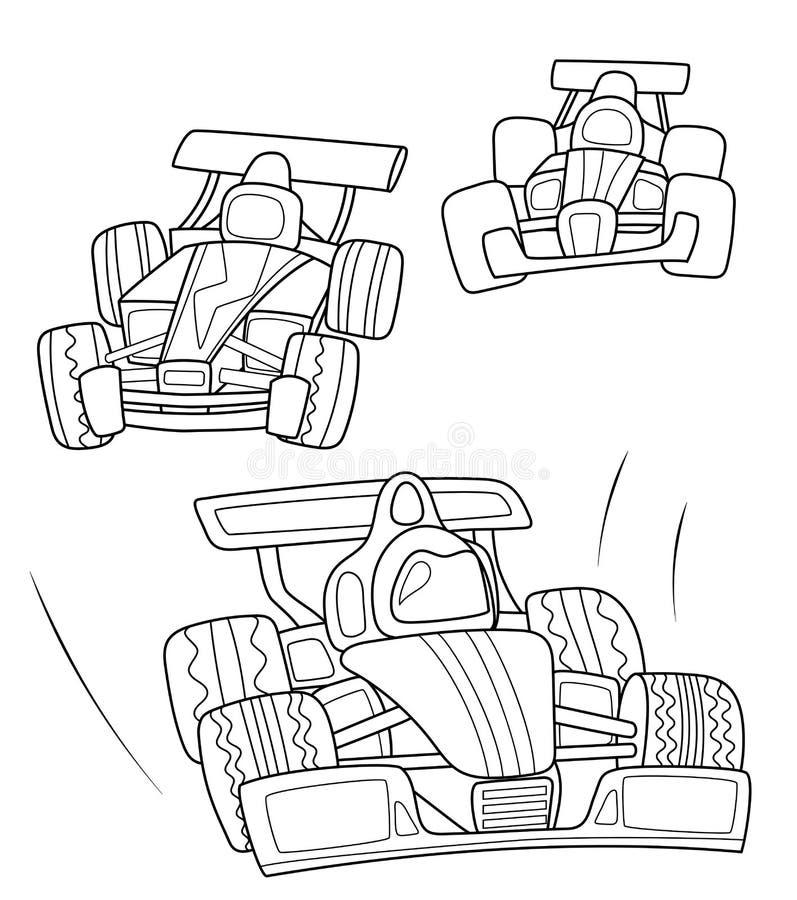 Macchine da corsa che colorano pagina, linea nera illustrazione di vettore su fondo bianco Linea arte dell'automobile di velocità illustrazione vettoriale