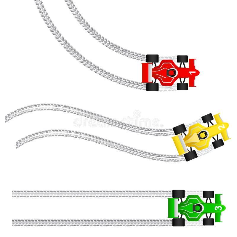 Macchine da corsa con le varie impronte del pneumatico illustrazione vettoriale