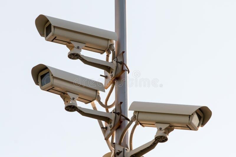 Macchine fotografiche del cctv di sicurezza fotografia stock libera da diritti