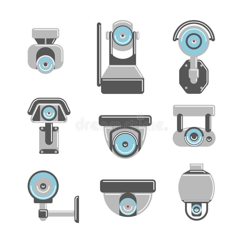 Macchine fotografiche del CCTV messe royalty illustrazione gratis
