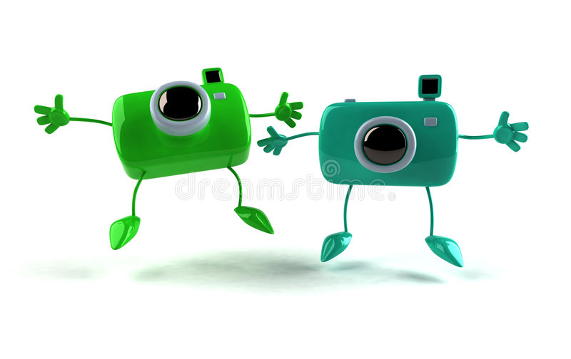 Macchine fotografiche felici royalty illustrazione gratis