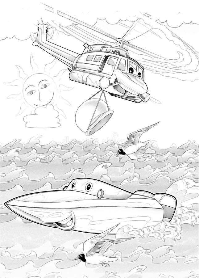 Macchine - pagina artistica di coloritura illustrazione vettoriale
