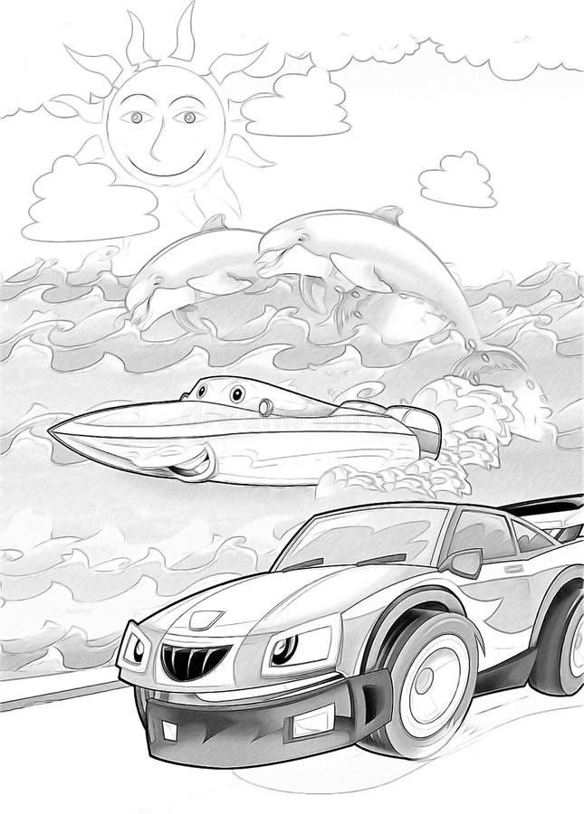 Macchine - pagina artistica di coloritura royalty illustrazione gratis