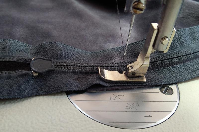 Macchine per cucire, piede del presser sulla chiusura lampo e chiusura lampo fotografia stock libera da diritti