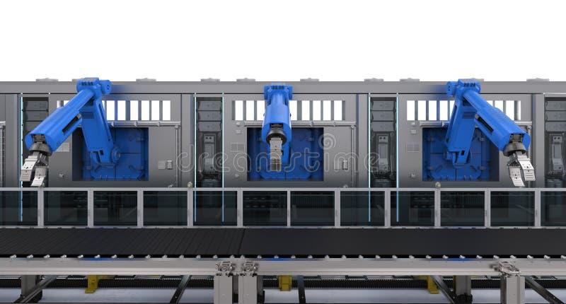Macchine robot con il trasportatore illustrazione vettoriale