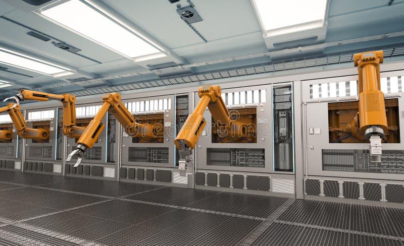 Macchine robot con la linea del trasportatore royalty illustrazione gratis