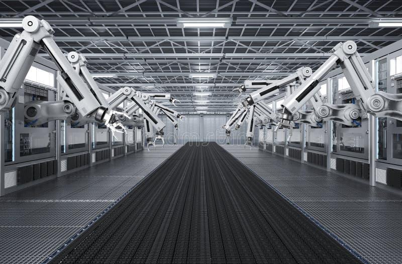 Macchine robot con la linea del trasportatore illustrazione di stock