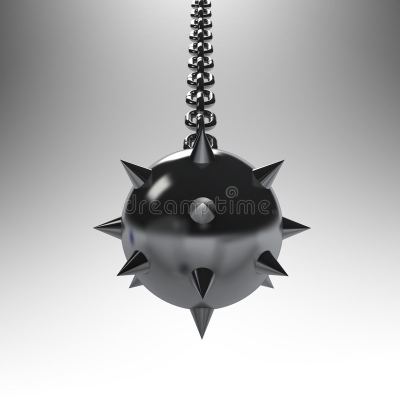 Mace. Medieval mace hanging on metal chain royalty free illustration