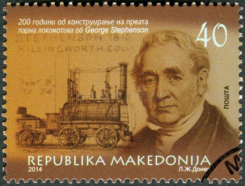 MACEDÔNIA - 2014: mostra a retrato de George Stephenson 1781-1848, o engenheiro civil e o engenheiro mecânico fotos de stock royalty free