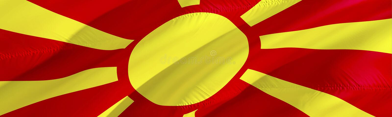 Macedońska flaga flaga Macedonii 3D falowania flagi projekt, 3D rendering Krajowy symbol Macedonia tła tapeta 3d obrazy royalty free