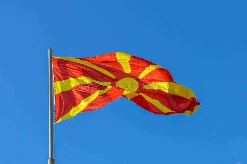 Macedoński chorągwiany falowanie obraz stock