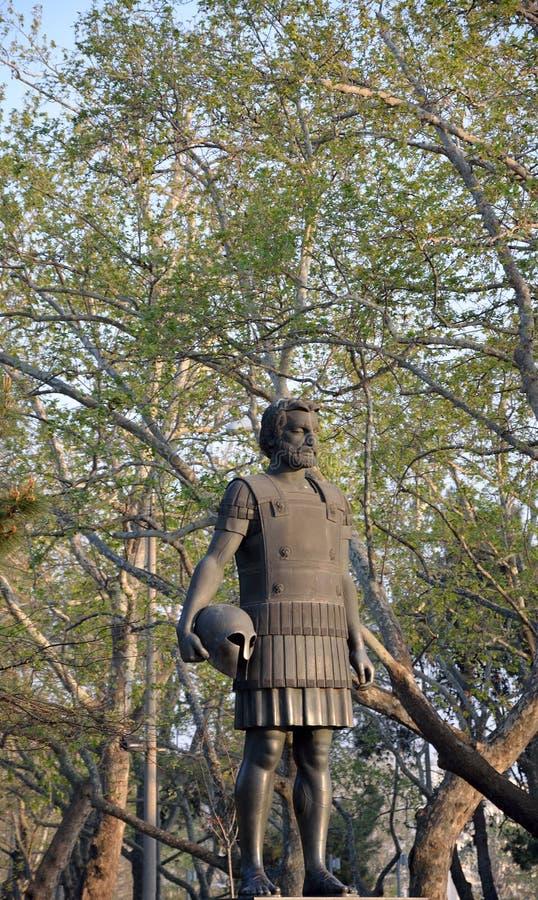 Macedon的腓力二世雕象在塞萨罗尼基 免版税图库摄影