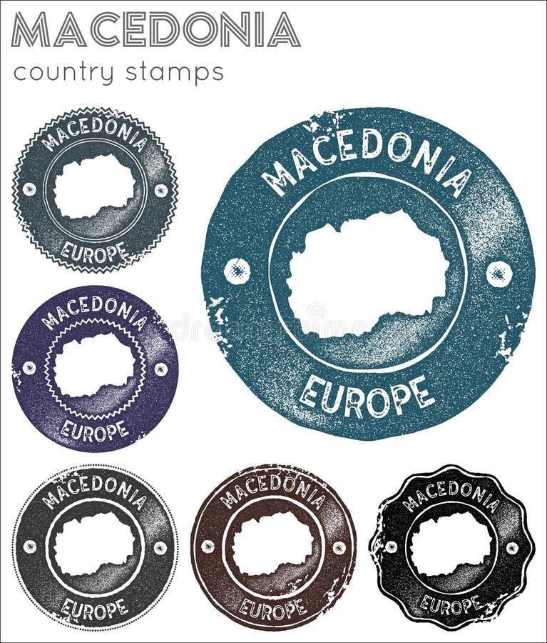 Macedonië stempelt inzameling stock illustratie