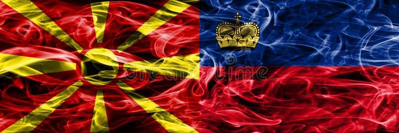 Macedonië versus zij aan zij geplaatste vlaggen van de het conceptenrook van Liechtenstein de kleurrijke stock afbeelding