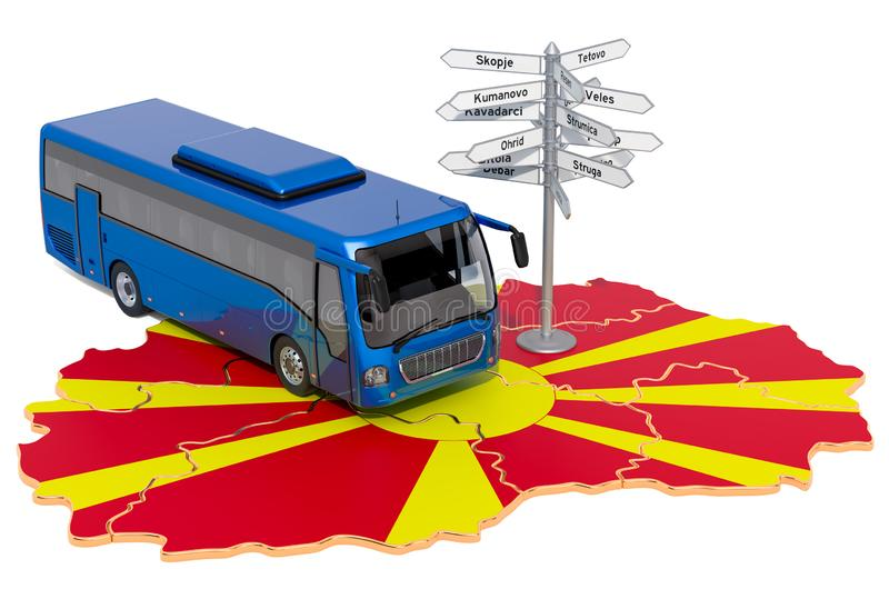 Macedonia Bus Tours concept. 3D rendering. Isolated on white background stock illustration