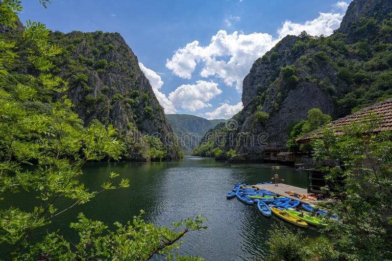 Macedonia Canyon Matka Boat Ride in the valley. In Summer royalty free stock photos