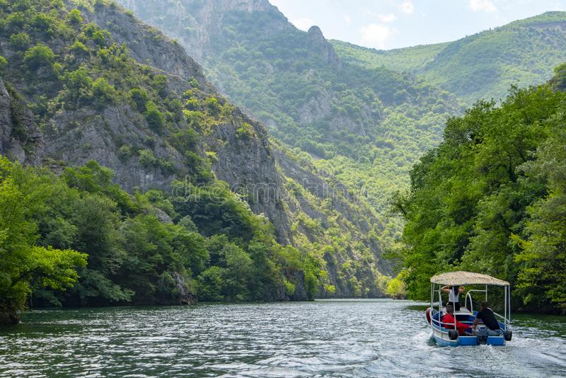 Macedonia Canyon Matka Boat Ride in the valley stock image