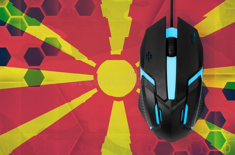 Macedonia flag and computer mouse. Concept of country representing e-sports team stock photos