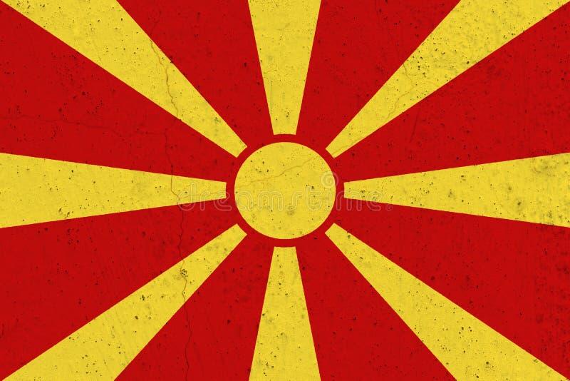 Macedonia flaga na betonowej ścianie zdjęcia stock