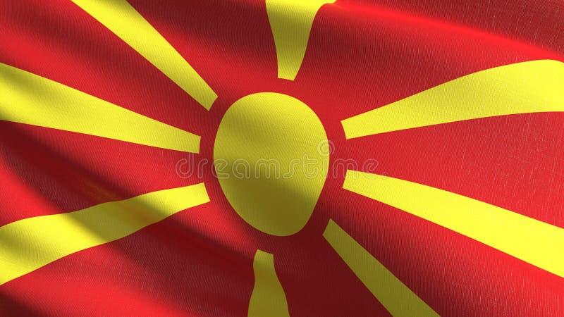 Macedonia flagi państowowej dmuchanie w wiatrze odizolowywającym Oficjalny patriotyczny abstrakcjonistyczny projekt 3D renderingu ilustracja wektor